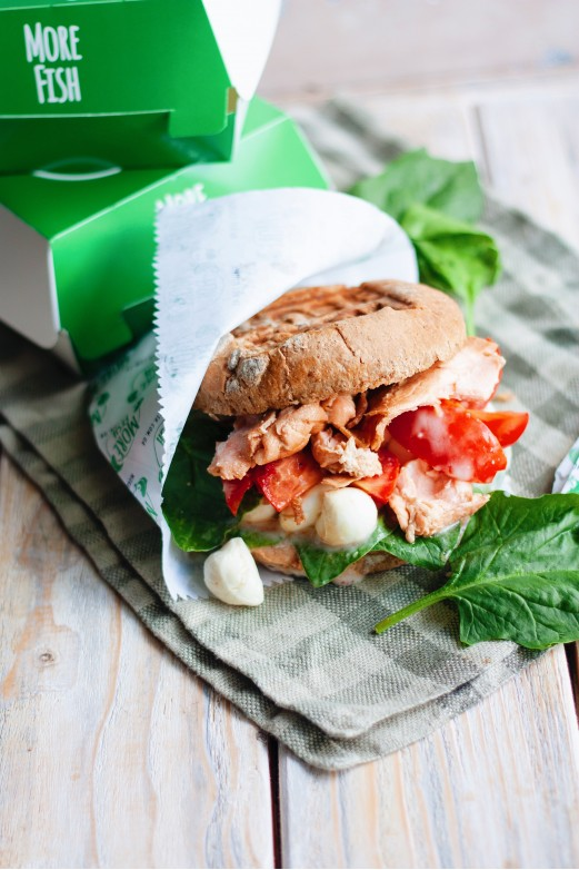 Burger with grilled salmon