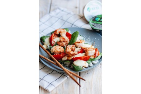 Rice pizza with tiger prawns