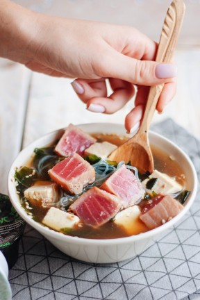 Miso soup with tuna