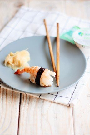Sushi with tiger shrimp